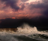 Storm under red sunset — Stock Photo