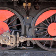 Wheels of an old train locomotive  — Stock Photo