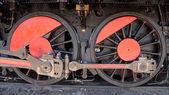 Wheels of an old train locomotive — Stock Photo