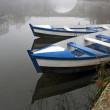 Boats in the mist — Stockfoto