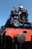Maintenance of an old steam locomotive — Stock Photo