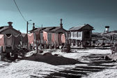 Medieval village barns — Stock Photo