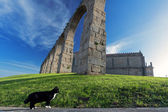Medieval monastery and aqueduct — Stock Photo