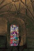 Jeronimos stained glass window — Stock Photo