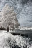 Infrared river boats — Stock Photo