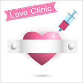 Add a love heart seized injected into the heart. syringe — Stock Vector