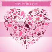 Heart vintage pattern , valentine and postcard — Vector de stock