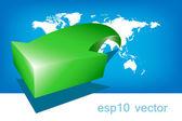 World Map Green Arrow Asia — Stock Vector