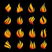 Icons set fire — Stock Vector