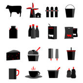 Milk, dairy products icons set — Vector de stock
