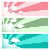 Sunray Sunburst Cloud Set — Stock Vector