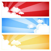 Sunrays and Clouds Set — Stock Vector