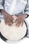 Real Djembe player, traditional garment, Senegal, Africa — Stock Photo