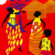 African crafts - Scene of traditional life on a piece of a red cotton fabric — Stock Photo