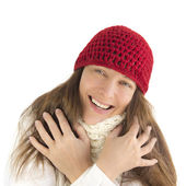 Happy woman in winter (isolated) — Stock Photo