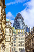 Architecture of London, business district, futuristic design — Stock Photo