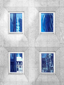 Architecture of London, business district, reflection on windows, monochrome — Stock fotografie