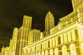 Vista conceptual de chicago (illinois), biblioteca pública y el horizonte — Foto de Stock