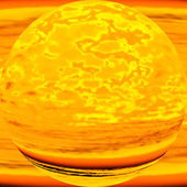 Imaginary molten planet, allegoric depiction of nuclear energy — Stock Photo