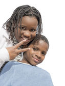 Young Afro girl and boy, isolated — Stock Photo