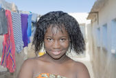 Young beauty in an African shanty town — Stock Photo