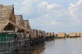 Göl - thatched evler. — Stok fotoğraf