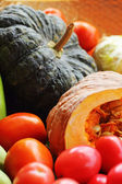 Fresh vegetables - pumpkin - tomatoes. — Zdjęcie stockowe
