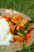 Basil Fried Rice with Pork. — Stock Photo