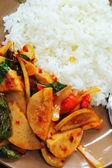 Basil Pork fried rice - steamed rice. — Stock Photo