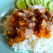 Rice crispy pork with sauce. — Stock Photo