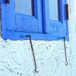 Window blue wall outdoor - to lock the window. — Stock Photo
