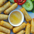 Food fried spring rolls with dipping sauce. — Stock Photo #36205215