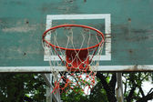 Basketball hoop against the warm summer — Stock Photo