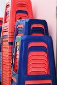 Plastic chairs - stackable set Rams. — Stock Photo