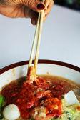 Zeevruchten met vermicelli soep - Sukiyaki — Stockfoto