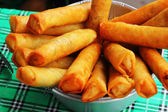 Fried spring rolls in the kitchen. — Stok fotoğraf