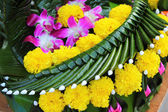 Kratong made from banana leaves and flowers. — Stock Photo