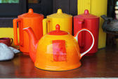 The molding machine, kettle and a coffee mug with vibrant colors — Stok fotoğraf