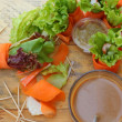 Salad vegetables - carrots, rolls to crab with coffee. — Stockfoto #36922843