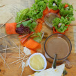 Salad vegetables - carrots, rolls to crab with coffee. — Stockfoto #36922861