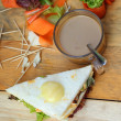 Tunsandwich with salad vegetables and coffee — Stockfoto #36923283