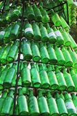 Soju bottles - green alcohol closely. — Stock Photo