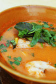 Hot and sour soup snakehead fish - thai food — Stock Photo