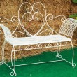 Bench chair white in the park — Stock Photo