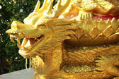 Golden dragon sculpture in a temple. — Stockfoto