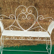 Stock Photo: Bench chair white in the park