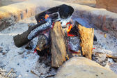 Fire wood for the fire to warm. — Stock Photo