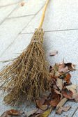 Broom and a pile of leaves — Stock Photo