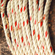 Stock Photo: White rope intertwined with pieces of old wood.