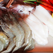 Stock Photo: Fresh squid and fresh shrimp with garnish for soup.